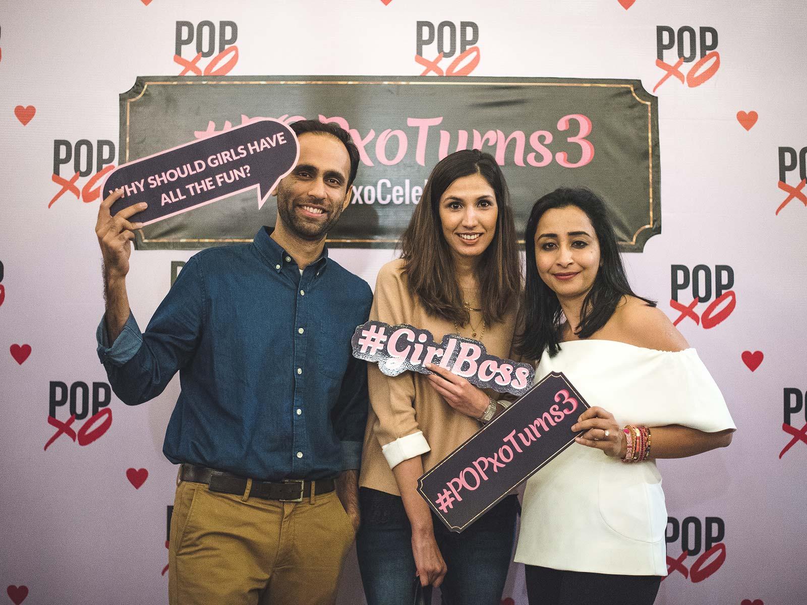 Dhruv Mathur, Suchita Salwan with Priyanka Gill at the #POPxoTurns3 party