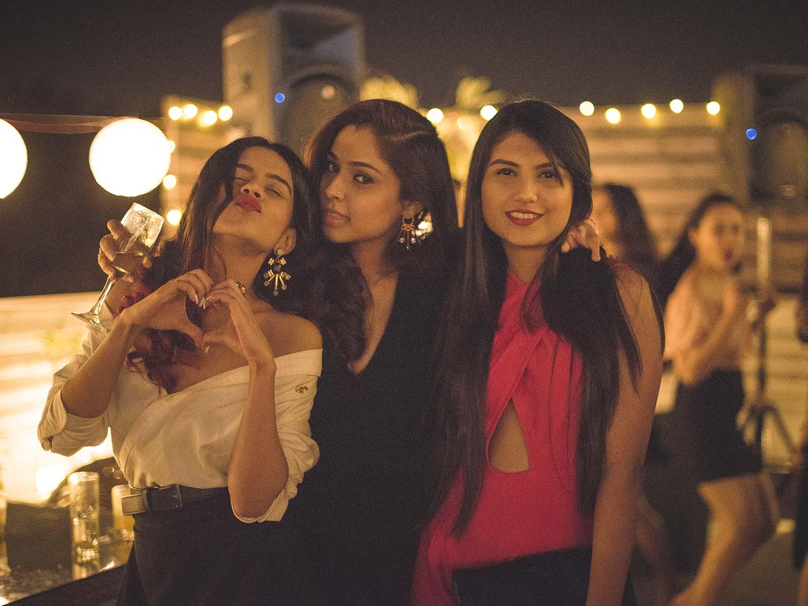 Komal Pandey, Gayatri Chehhetry and Cherry Jain at the #POPxoTurns3 party