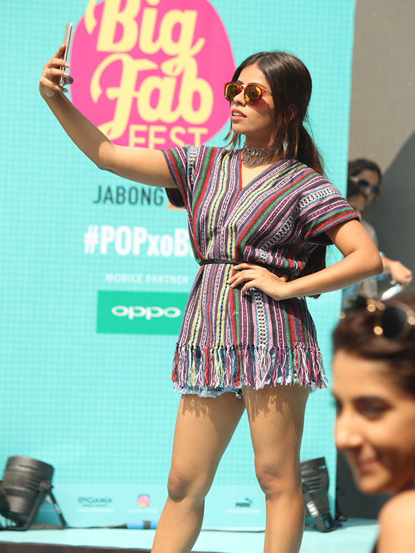 Kavya D Souza takes a selfie at the POPxo Big Fab Fest held at Qla in Delhi
