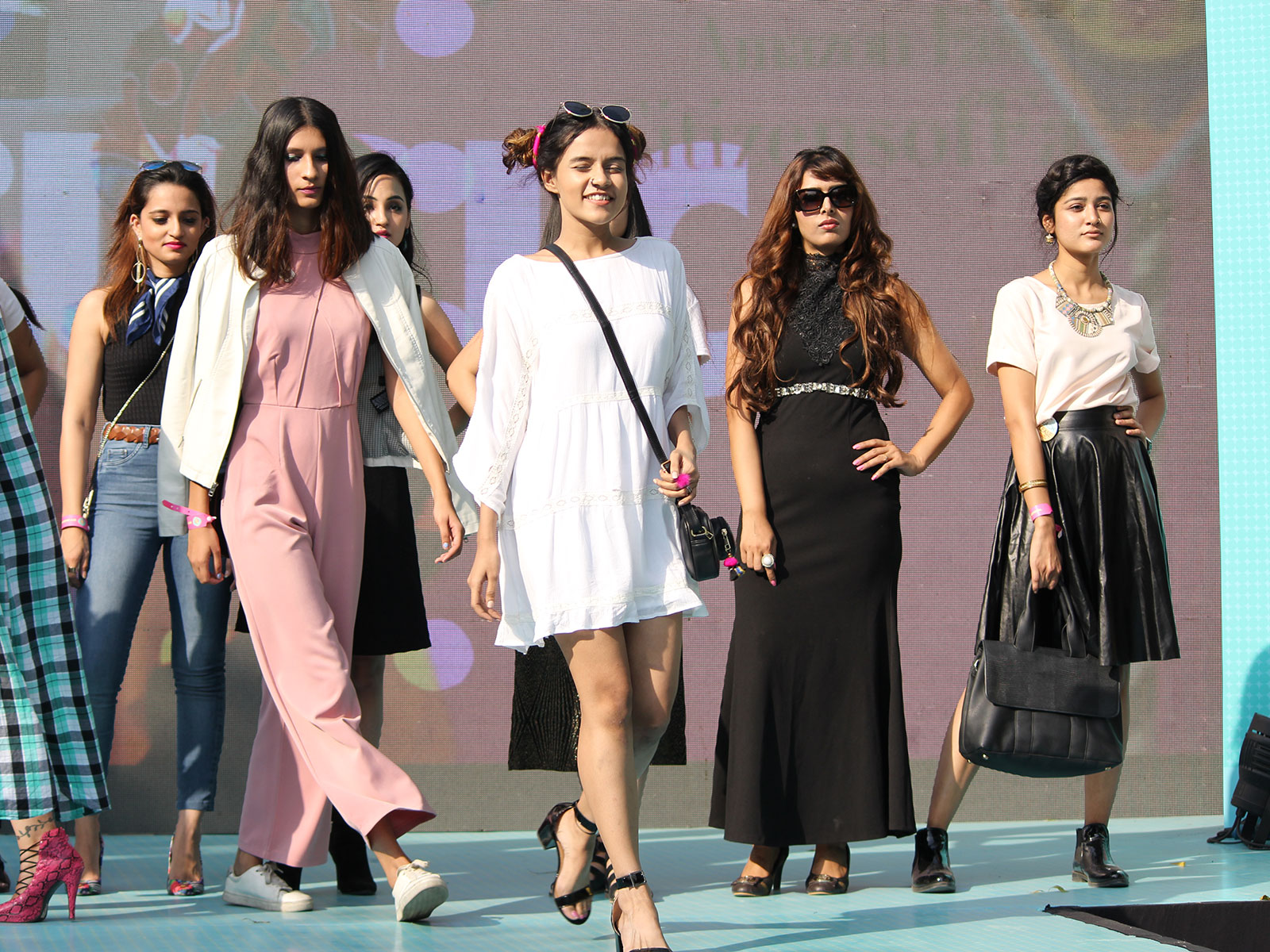 Komal Pandey rehearses for the Jabong fashion show at the POPxo Big Fab Fest held at Qla in Delhi