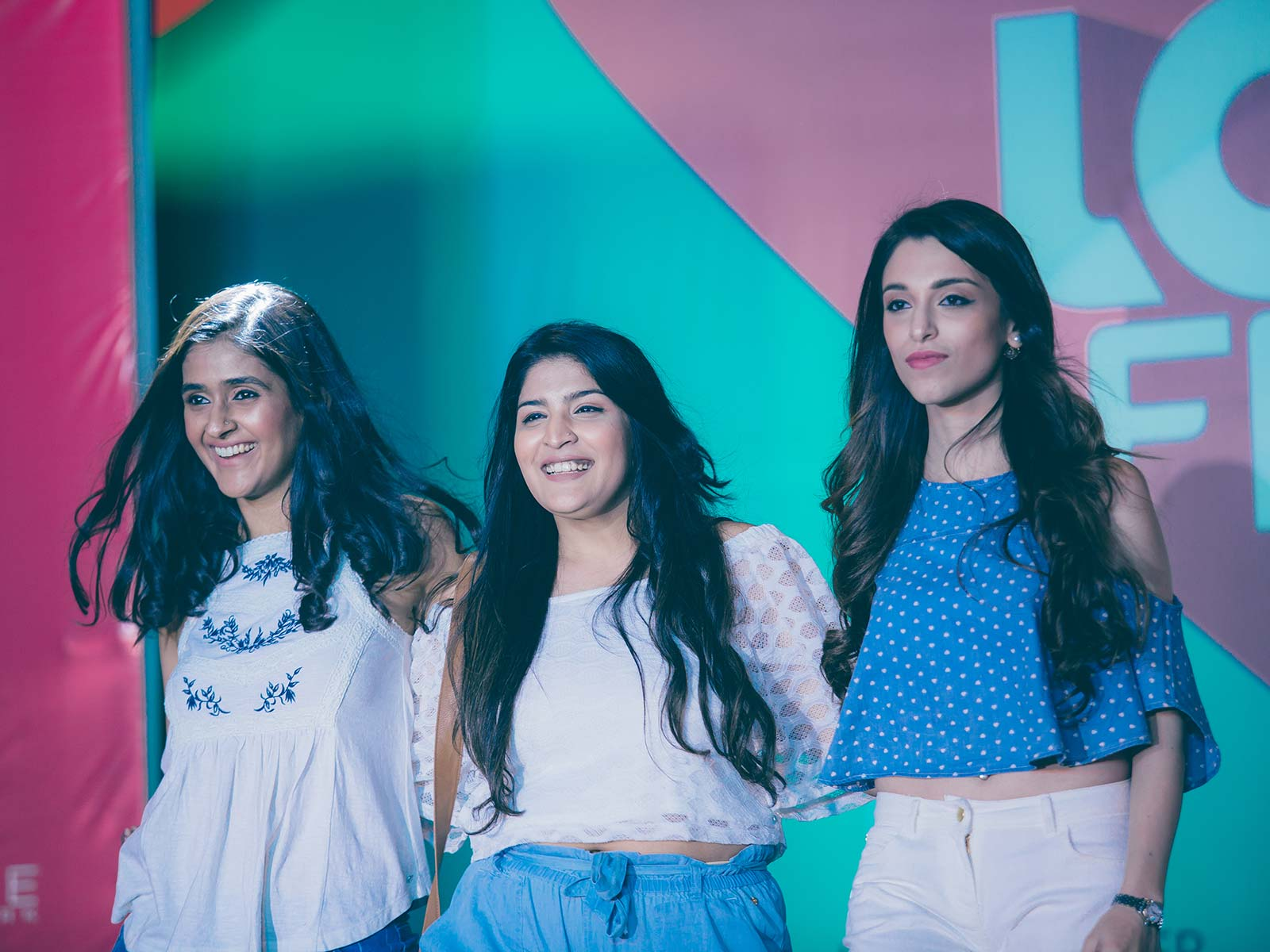 Shreya Kalra, Shreya Jain and Maia Sethna walk the ramp for Westside at the POPxo Love Fest